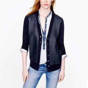 J Crew Collection leather front merino cardigan M